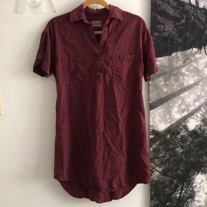 Universal Thread Maroon Collared Shirt Dress